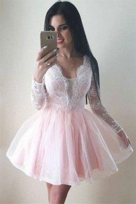 Long Sleeve Puffy Tulle Lace Formal Dresses | V-Neck Short Evening Dress UK_1