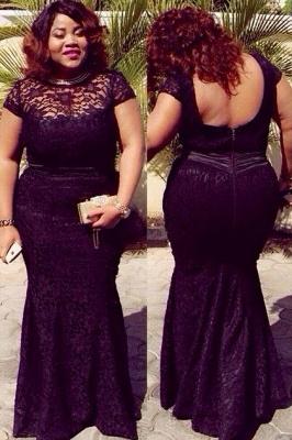 Plus size lace mermaid short sleeve evening Dress UK_1