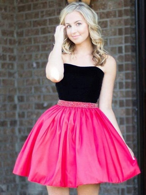 Strapless Short Mini A-Line Homecoming Dress with Beadings_3
