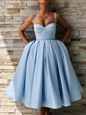 Spaghetti-Straps Sweetheart Knee-Length Homecoming Dress_1