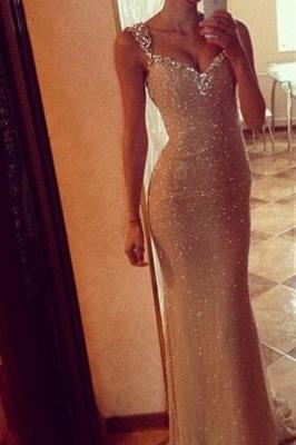 Sequins Elegant Mermaid Prom Dress UK with Crystals Straps_1