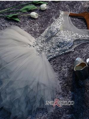 Lace-Appliques Cute Sleeveless Short Illusion Puffy Homecoming Dress UK_2