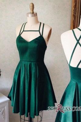 Sleeveless Mini Spaghetti-Strap Newest Green Homecoming Dress UK_2