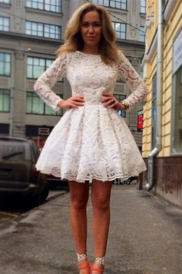 Sexy Long Sleeve Short Homecoming Dress UK With Lace_1