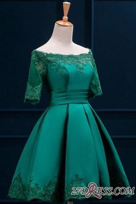Lace Green Short Appliques Charming Half-Sleeve Homecoming Dress UK BA3856_2