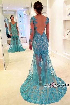 Sweep-Strap V-neck Mermaid Long-Sleeve Delicate Lace Prom Dress UK_1