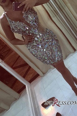 Halter-Neck Bling Crystals Sheath Short Elegant Short Homecoming Dress UKes UK_1