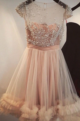 Tulle A-line Beading Capped-Sleeves Sheer Champagne Homecoming Dress UKes UK_2
