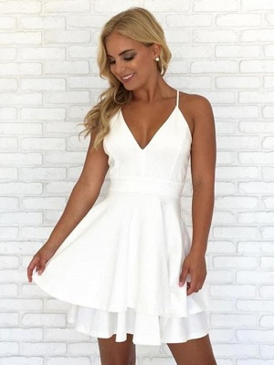 Chic Layers V-Neck Spaghetti-Straps Homecoming Dress