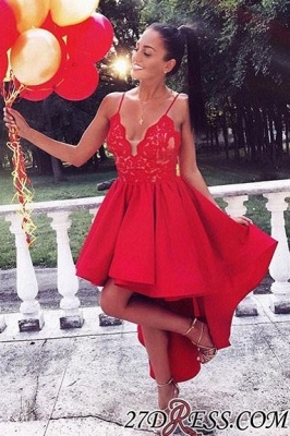 Cute Red High-low A-line Lace V-neck Homecoming Dress UK BA6902_2