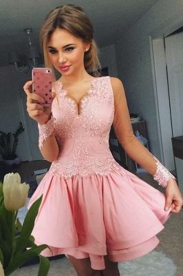 Lovely Pink Short Prom Dress UK | Lace Homecoming Dress UK_2