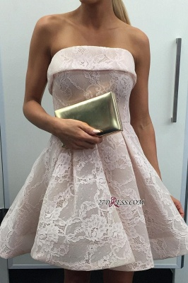 Strapless lace short homecoming Dress UK, short prom Dress UK_1