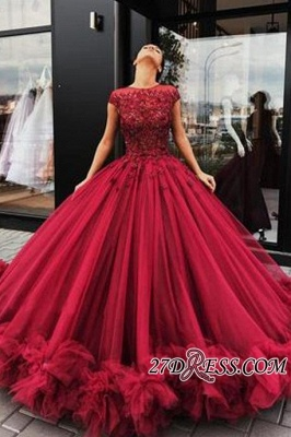 Short Sleeves Burgundy Prom Dress UKes UK   Ball Gowns Evening Dress UK With Lace_2
