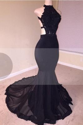 Black Lace Prom Dress UK | Halter Party Dress UK With Appliques  BA8130_2