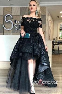 Black Short-Sleeve Elegant Lace Hi-Lo Prom Dress UK_1