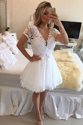 Lovely Short Sleeve White Homecoming Dress UK Lace Short Pearls BT0_2