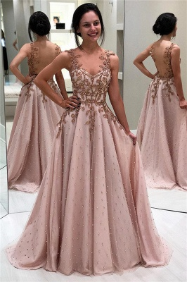 Elegant Appliques Beaded Sleeveless Evening Gown | Open Back Cheap Prom Dresses UK_1