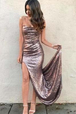 Elegant Strapless Sequins Mermaid Prom Dress UK Front Split On Sale_2