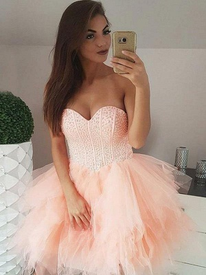 Tulle Beading Sweetheart Strapless Mini Homecoming Dress_1