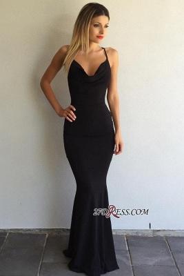 Black Sleeveless Elegant Spaghetti-Strap Cross-Back Mermaid Prom Dress UK sp0248_2