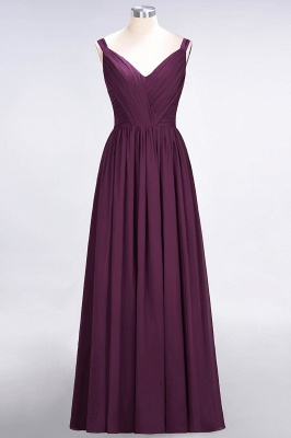 Sexy A-line Flowy Straps Alluring V-neck Sleeveless Backless Floor-Length Bridesmaid Dress UK UK with Ruffles_1