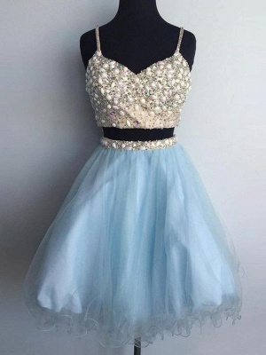 Two-Pieces Tulle Spaghetti-Straps Homecoming Dress