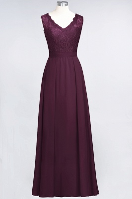 A-Line Chiffon Lace V-Neck Sleeveless Long Bridesmaid Dress UK_1