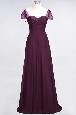 A-Line Chiffon Sweetheart Cap-Sleeves Ruffle Long Bridesmaid Dress UK with Beadings_1