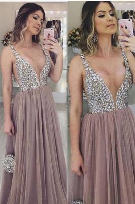 Unique V-Neck Straps Sleeveless A-Line Tulle Prom Dress UK UK_2
