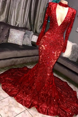 Amazing Elegant Mermaid Long Sleeves Seductive Deep Sexy V-Neck Lace Applique Prom Dress UKes UK UK_1