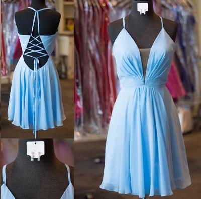 Spaghetti-Straps V-Neck Lace-Up Homecoming Dress_5