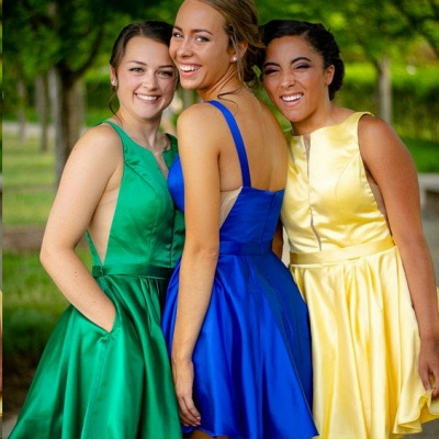 Sleeveless Stretch Satin Green Short Party Dresses Cheap Online_5