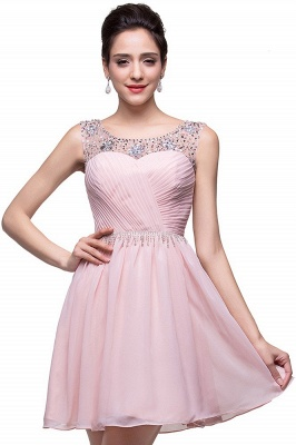 Gorgeous Sleeveless Crystal Short Homecoming Dress UK Chiffon_1