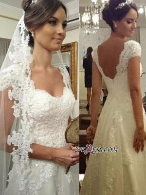 A-line Straps Lace Short-sleeves Modern Zipper Wedding Dress_1