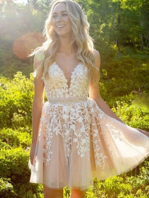 Chic Straps Beading Sash Homecoming Dress_5