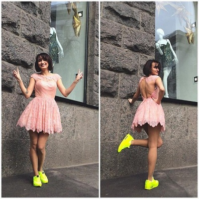 Pink Lace Jewel Sleeveless Open-Back Short Homecoming Dress_3