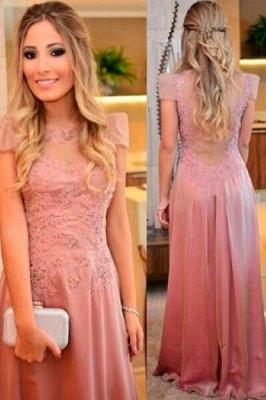 Short-sleeves Floor-length Appliques Sheath-Column Evening Dress UK_1