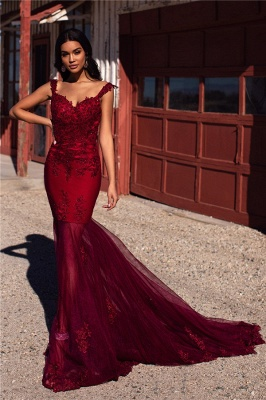 Burgundy Evening Gowns Cheap | Straps Appliques Tulle Mermaid Prom Dresses UK_4