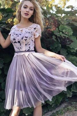Fabulous A-Line Lace Scoop Tulle Short length Sleeves Short length Prom Dress UK UK_2