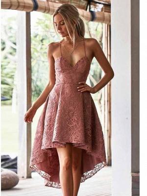 Hi-Lo Lace Spaghetti Straps Formal Dresses | V-Neck Short Evening Dress UK_1