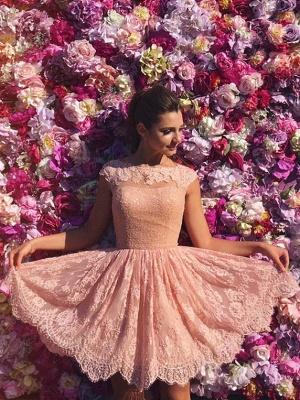 Pink Lace Jewel Sleeveless Open-Back Short Homecoming Dress_4