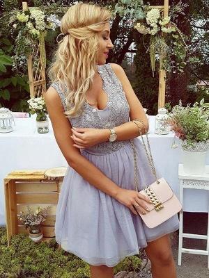 Lace Straps Short Homgcoming Dress_3