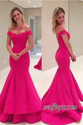 Sleeves Fuchsia Short Mermaid Off-The-Shoulder Prom Dress UK_1