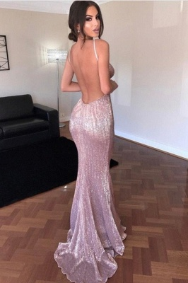Sexy Sequins Open Back V-Neck Prom Dress UK On Sale TH309_2