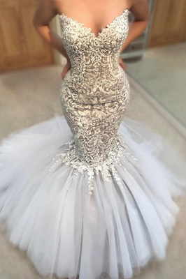Delicate Appliques  Sexy Mermaid Wedding Dress   Sweetheart Neck Tulle Cheap Skirt Bridal Gowns_2