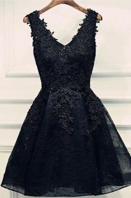 Lace-Up Black Short V-Neck Beading Lace-Appliques Homecoming Dress UKes UK BA6904_2