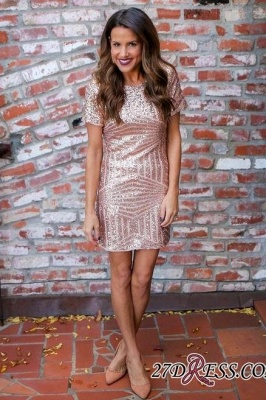 Sequins Sexy Short-Sleeves Short Sheath Homecoming Dress UKes UK_2