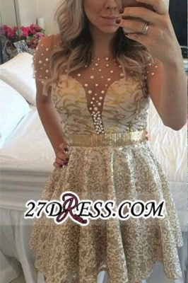 A-line Gold Short-Sleeves Beadings Short Lace Homecoming Dress UK_2