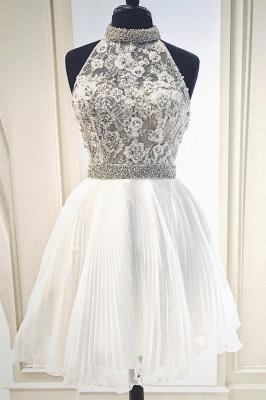 High Neck Beaded Knee Length Party Dresses | Sleeveless Short Evening Dress UK_1