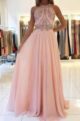 Pink Halter Long Prom Dress UK | Chiffon Evening Dress UK With Crystal_2